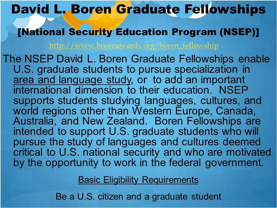 David L. Boren Graduate Fellowships [National Security Education Program (NSEP)]